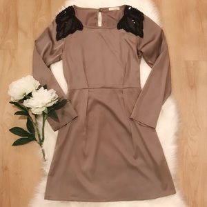 ✨Everly Tan Dress with Embellished Shoulders✨